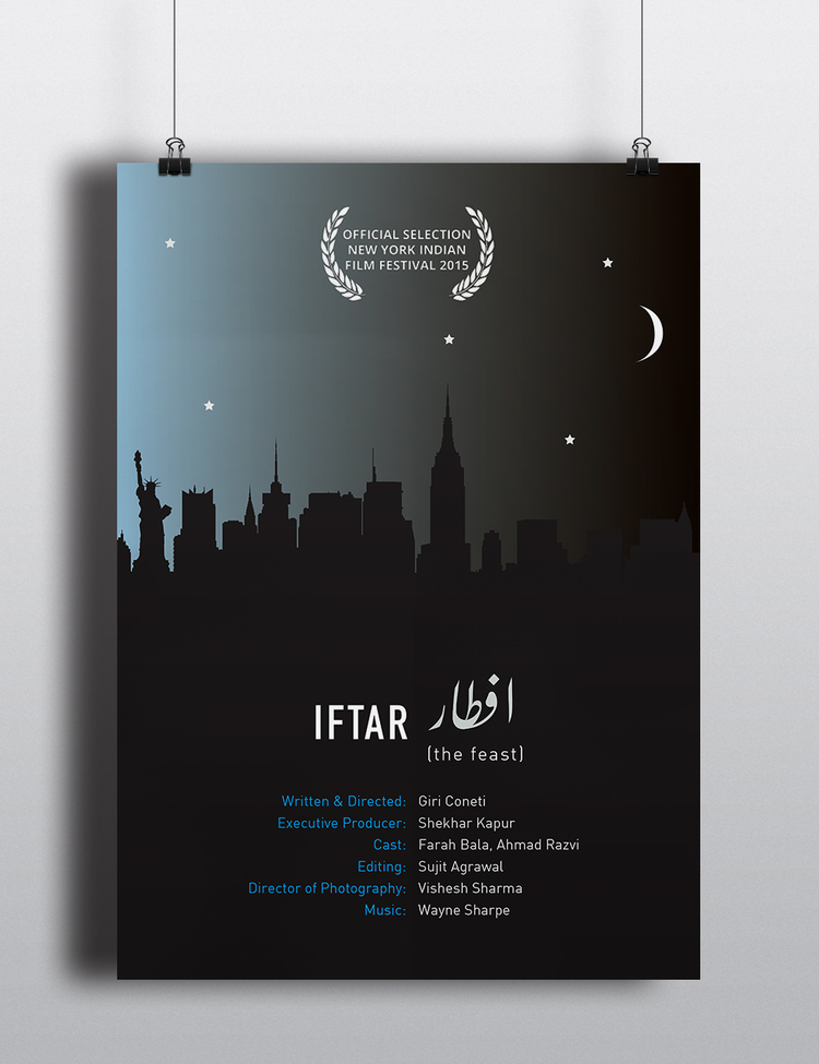 Film poster for Giri Coneti's film, Iftar, which screened at the New York Indian Film Festival in 2015.